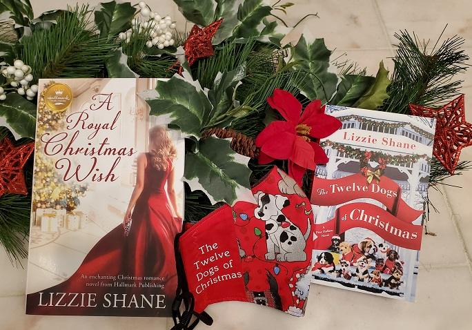 Signed Copies of two books and custom Christmas puppy face mask